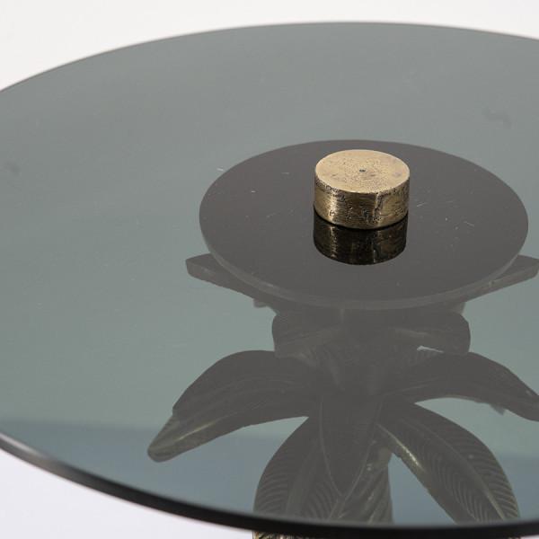Masuta de cafea rotunda din metal si sticla Ovide 36x36x55 cm aurie