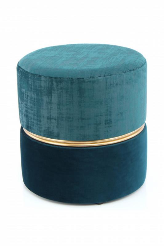 Puf/ Taburet tapitat Cleopatra albastru / albastru inchis