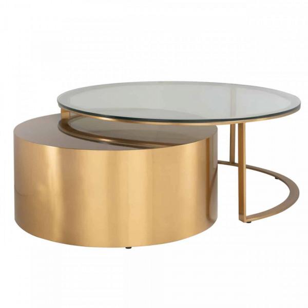 Set 2 masute de cafea rotunde din sticla si metal Orlan 46x105x105 cm aurii