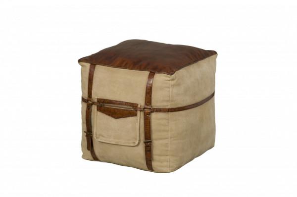 Taburet tapitat sub forma de cub maro/bej