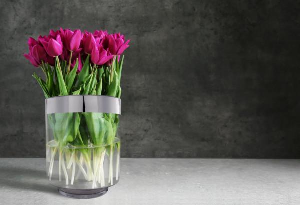Vaza de sticla Leila Argintiu