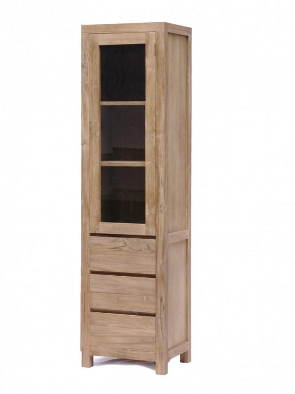 Vitrina din tec, o usa si 3 sertare