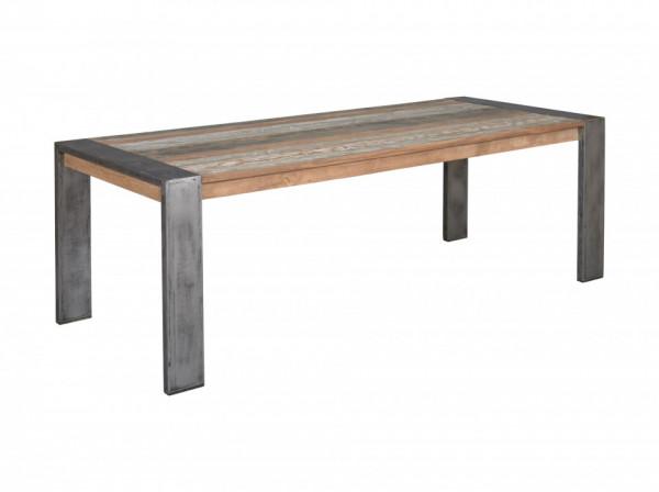 Masa dreptunghiulara cu blat din lemn de tec 240x100x78 maro/argintiu