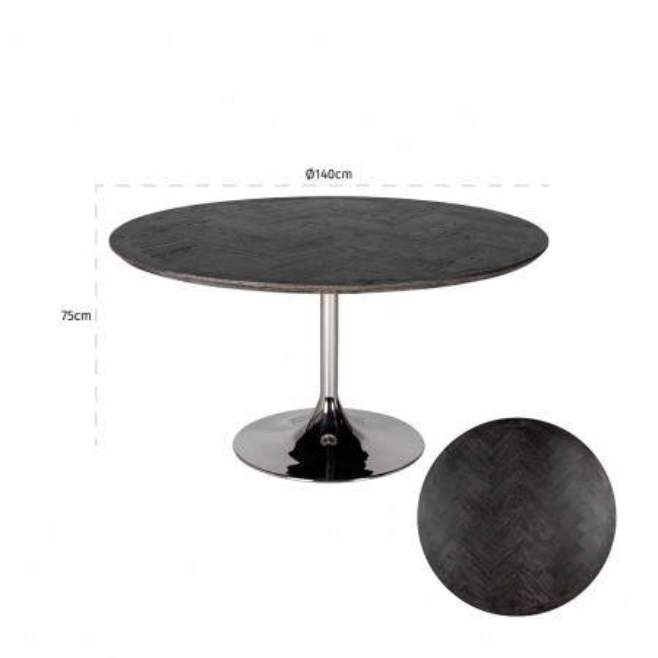Masa rotunda cu blat din lemn de stejar Blackbone 75 x 140 x 140 cm neagra