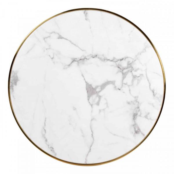 Masa rotunda cu blat din marmura Osteria 75 x 80 x 80 cm alb/auriu/negru