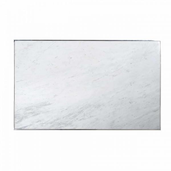Masuta de cafea dreptunghiulara din marmura si otel inox Levanto 45x130x80 cm alba
