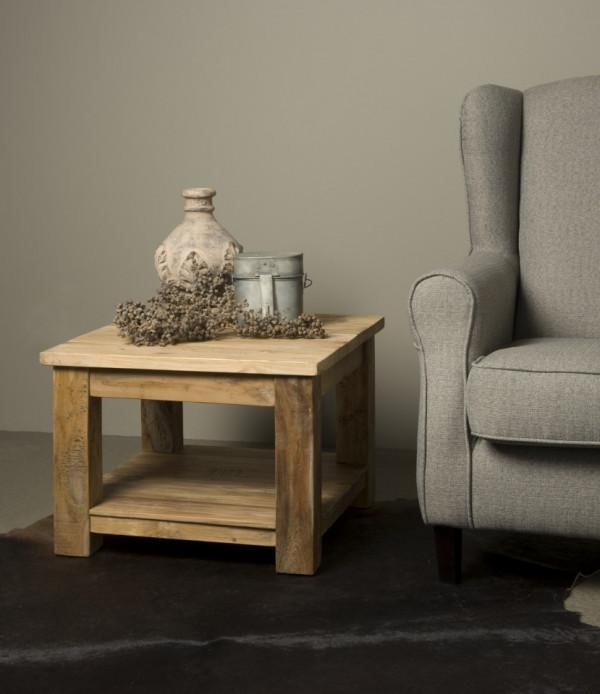 Masuta de cafea patrata din lemn cu spatiu de depozitare Shelf 60x60x45 cm maro