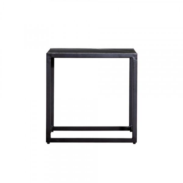 Masuta de cafea patrata din marmura si metal 50x50x50 cm neagra