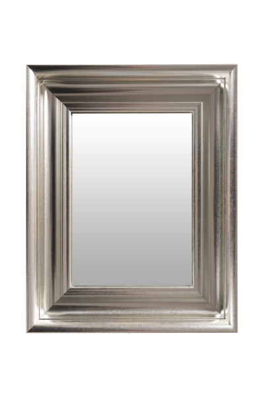 Oglinda dreptunghiulara cu rama din polistiren argintie Scott, 45,5cm (L) x 36,5cm (L) x 5,2cm (H)