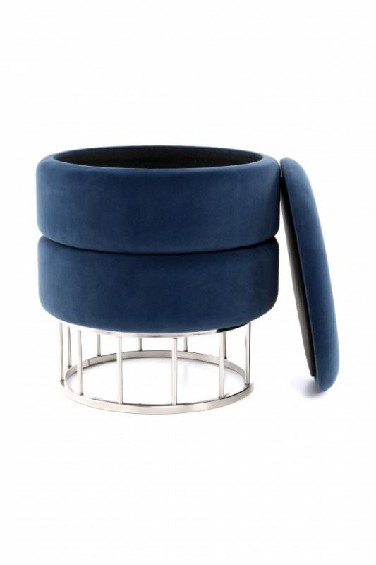 Puf/Taburet tapitat cu spatiu pentru depozitare Zero albastru inchis