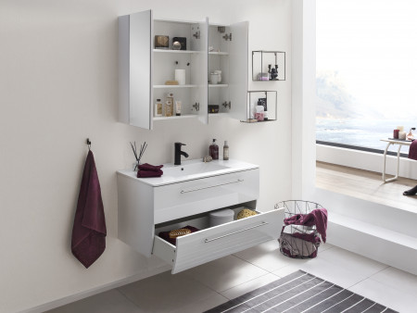 Set 2 piese mobilier din MDF pentru baie albe