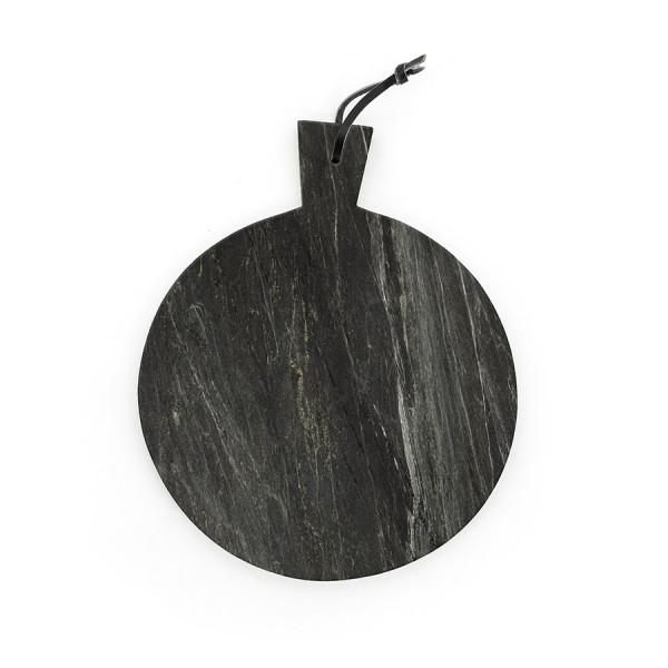 Blat pentru servire rotund din marmura CB3, negru, 31 cm