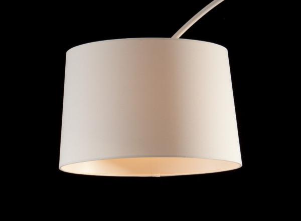 Lampadar din material textil/metal/marmura arc 205 cm alb, un bec