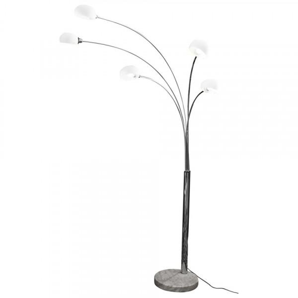 Lampadar din metal cromat/marumra/sticla THIS & THAT 220 cm negru, 5 becuri