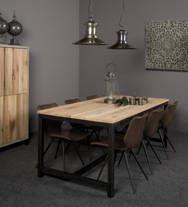 Masa dreptunghiulara cu blat din lemn de stejar 180x90x78 cm maro/negru