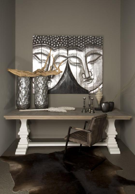 Masuta de cafea dreptunghiulara din lemn Toscana 135x75x45 cm maro/alb