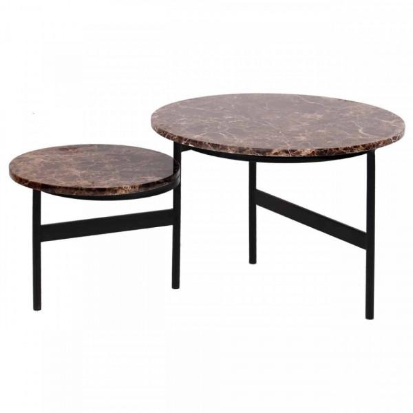 Set 2 masute de cafea rotunde din marmura si metal Dalton 45x60x60 cm maro