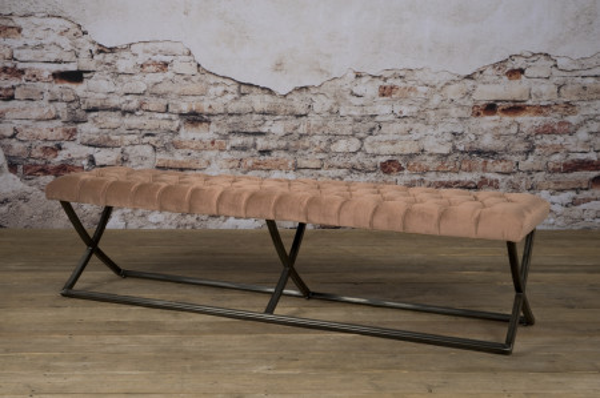 Bancheta Bolton din catifea/peach