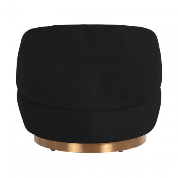 Fotoliu rotativ tapitat negru/auriu
