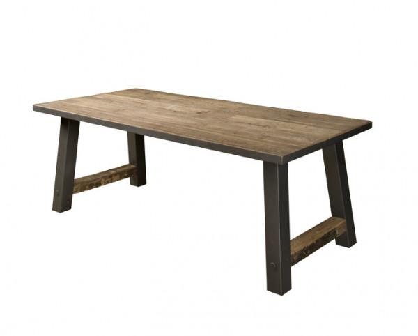 Masa dreptunghiulara cu blat din lemn de tec reciclat 200x100x77 cm maro inchis/negru