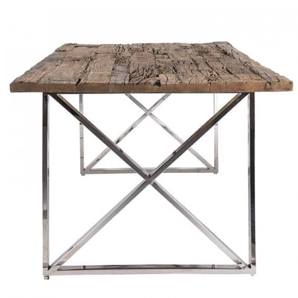 Masa dreptunghiulara cu blat din lemn de tec reciclat Kensington 75x180x100 cm