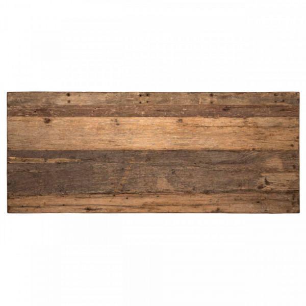 Masa dreptunghiulara cu blat din lemn de tec reciclat Raffles 78 x 200 x 100 cm maro/negru