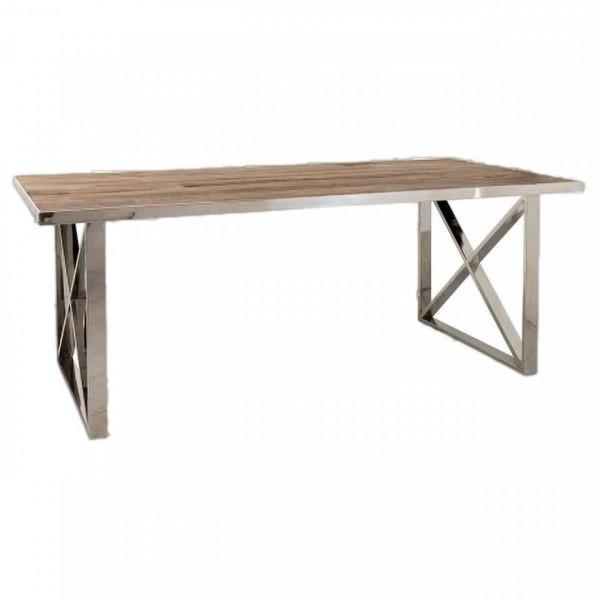 Masa dreptunghiulara cu blat din lemn de ulm Redmond 78 x 200 x 100 cm maro/argintiu