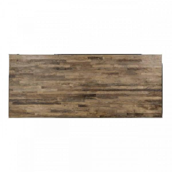 Masa dreptunghiulara cu blat din lemn de ulm Redmond 78 x 240 x 100 cm maro/argintiu