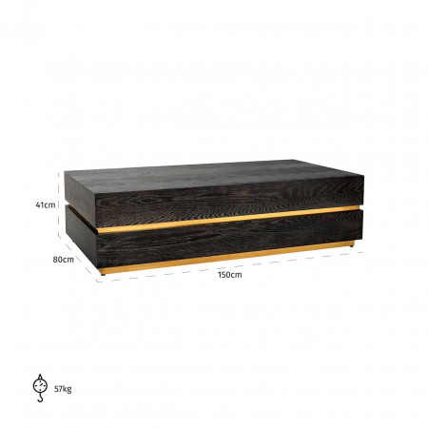 Masuta de cafea dreptunghiulara din stejar si otel Blackbone 150x80x41 cm negru/auriu