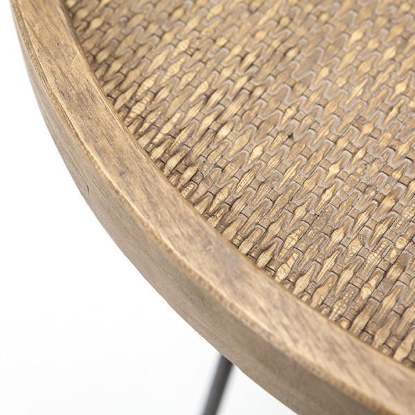 Masuta de cafea rotunda cu blat din lemn si picioare metalice Drax 80x80x40 cm maro deschis