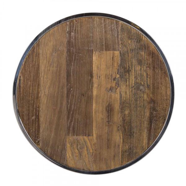 Set 2 masute de cafea rotunde din lemn si otel Maddox 60x40x40 cm maro