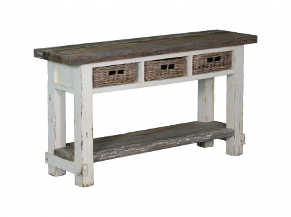 Comoda din lemn cu 3 sertare 150x40x80 cm alb/gri