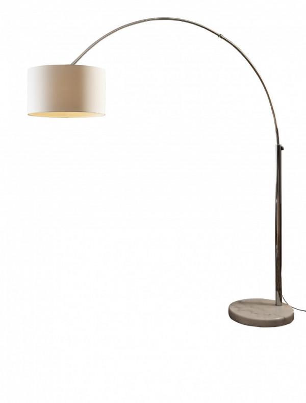 Lampadar din material textil/metal/marmura arc 210 cm alb, un bec
