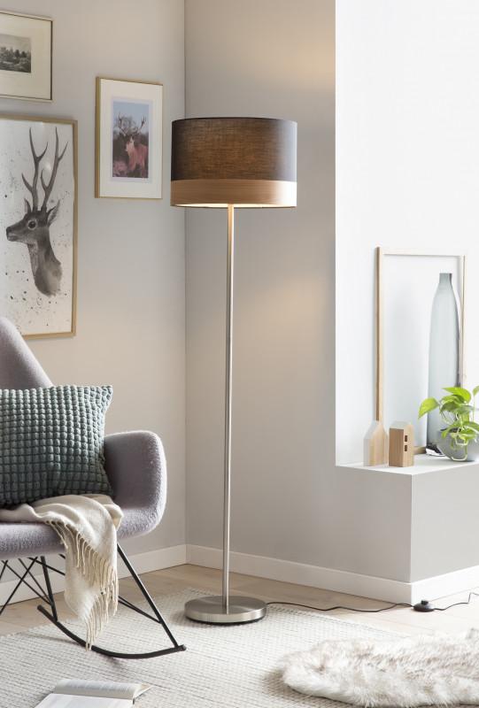 Lampadar din metal/tesatura 151 cm negru/crom, 1 bec