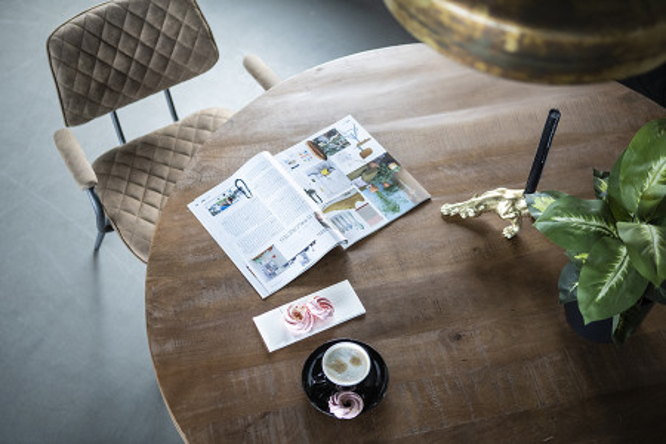 Masa rotunda cu blat din lemn de mango 150x150x76 cm maro/negru