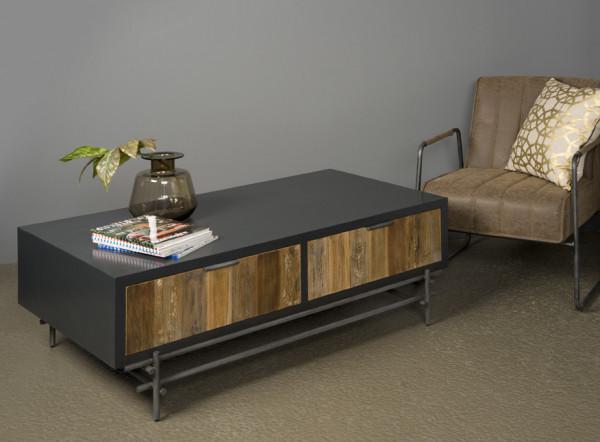 Masuta de cafea dreptunghiulara din lemn cu spatiu de depozitare 135x74x45 cm gri/maro