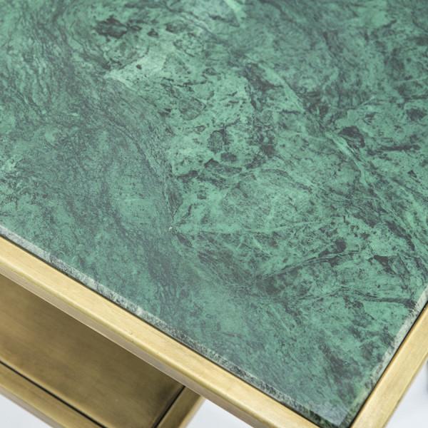 Masuta de cafea dreptunghiulara din marmura si metal Caesar 60x40x56 cm auriu/verde