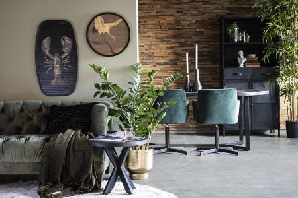 Masuta de cafea dreptunghiulara din metal si lemn de mango Denzel 140x70x45 cm neagra
