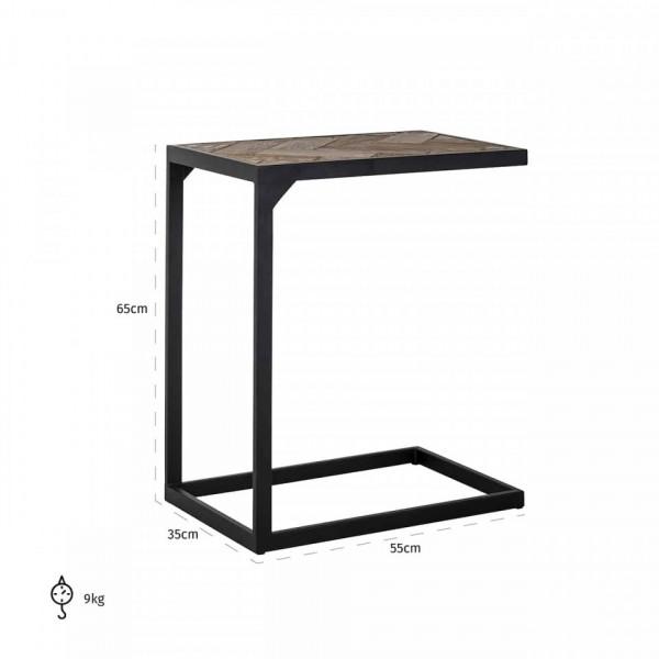 Masuta de cafea dreptunghiulara din stejar si metal Herringbone 65x55x35 cm negru/maro