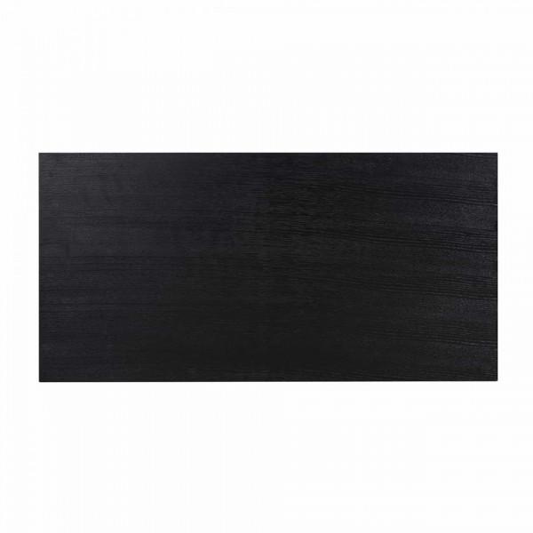 Masuta de cafea dreptunghiulara din stejar si metal Oakura 120x60x40 cm neagra
