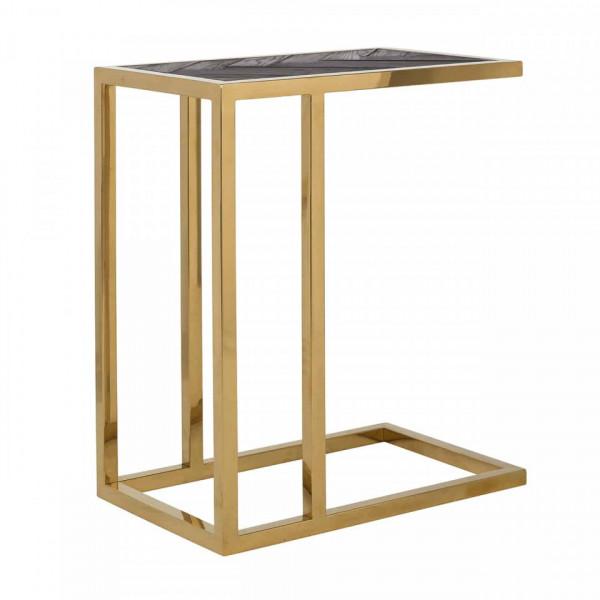Masuta de cafea dreptunghiulara din stejar si otel Blackbone 60x55x35 cm auriu/negru