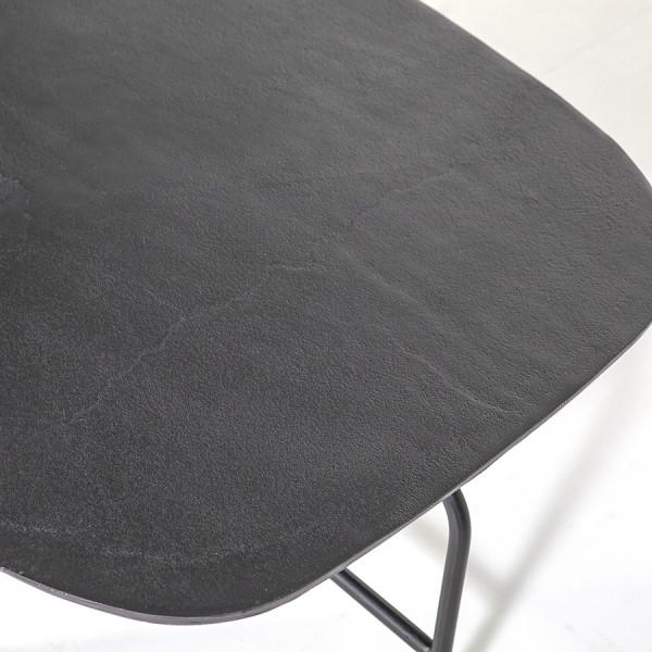 Masuta de cafea ovala din lemn si metal Charles 147x70x38 cm gri
