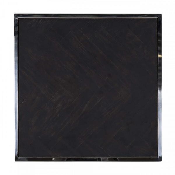 Masuta de cafea patrata din stejar si otel Blackbone 50x50x60 cm negru/argintiu