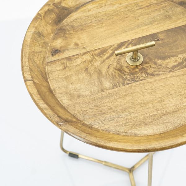 Masuta de cafea rotunda din lemn de mango Medja 45x45x54 cm aurie