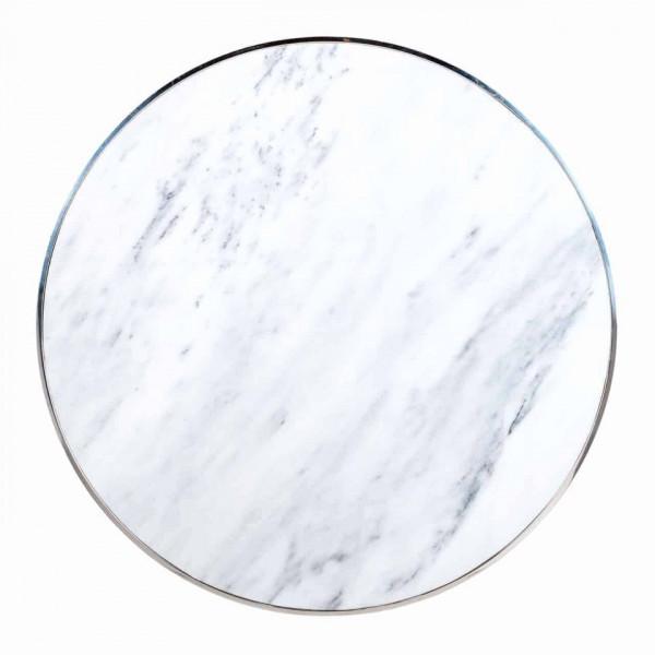 Masuta de cafea rotunda din marmura si otel Levanto 40x95x95 cm alba