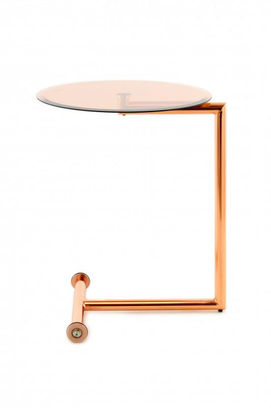 Masuta de cafea rotunda din sticla Luciana 46x46x62 cm aurie