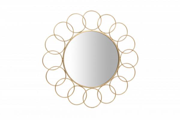 Oglinda rotunda cu rama din metal aurie Creolo, aproximativ 2cm (L / D) x 80cm (W) x 80cm (H)