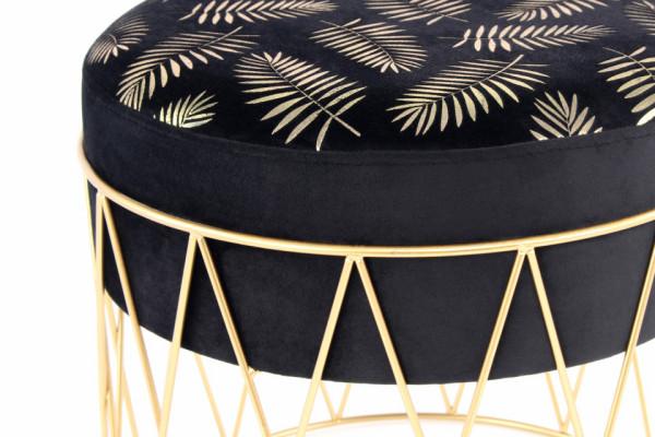 Puf/ Taburet tapitat cu imprimeu Cleopatra negru