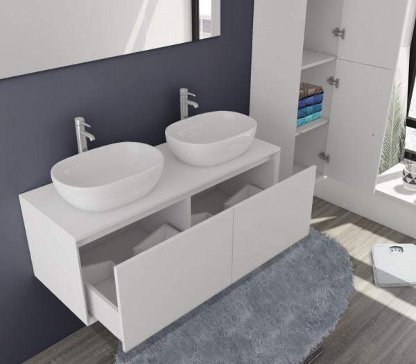 Set 3 piese mobilier pentru baie, alb, 120 cm
