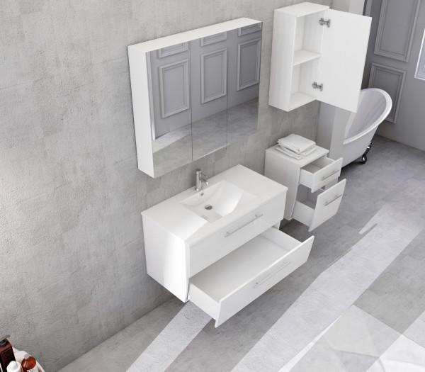 Set 4 piese mobilier din MDF pentru baie alb, 90 cm